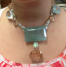 Huge 530 ct TGW aquamarine, Morganite, opal, diamond, Platinum 14k gold necklace