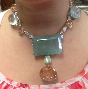 Huge 530 ct TGW aquamarine, Morganite, opal, diamond, Platinum 14k gold necklace