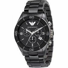 NEW EMPORIO ARMANI AR1421 BLACK CERAMIC WATCH - 2 YEAR WARRANTY - CERTIFICATE
