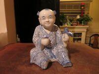 "Chinese Boy holding Flower Porcelain figure figurine Blue White Vintage China 7"""