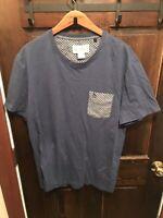 Original Penguin Men Blue Shirt size XL Plaid Short Sleeve T-shirt Casual