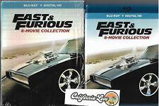 8-MOVIE FAST & FURIOUS BLU-RAY 9-DISC BOX COMBO VIN DIESEL ✔☆MINT☆✔ NO DIGITAL
