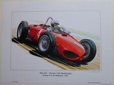 POSTER ARTWORK PRINT / DESSINS F1 FERRARI 156 HILL  30 x 40 cm by CLOVIS