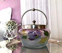 Antik Bonboniere Glasdose Keksdose Glas Email Metallmontur Jugendstil irisierend