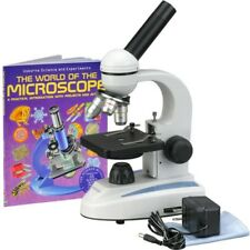 AmScope 40X-1000X Glass Optics All-Metal Frame Student Compound Microscope + Boo