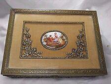 Antique French Bronze Brass Jewelry Box Porcelain Medallion Romantic Scene