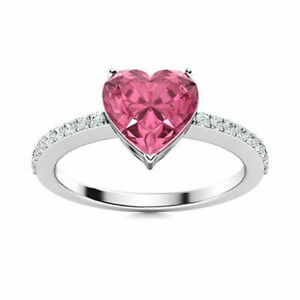 0.44ct Natural Round Diamond 14K Solid White Gold Ruby Wedding Cluster Ring