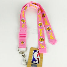 Official Los Angeles Lakers NBA Lanyard Key Chain ID Holder Pink Lakers Lanyard
