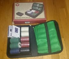 Portable poker set, new in box, case, 4 chip colors, button, 2 card decks, mat,