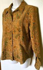 EUC Coldwater Creek Long Sleeve V-Neck Button Down Paisley Textured Shirt   Sz M