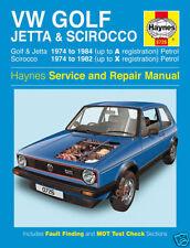HAYNES VW GOLF JETTA AND SCIROCCO PETROL  SERVICING AND REPAIR MANUAL