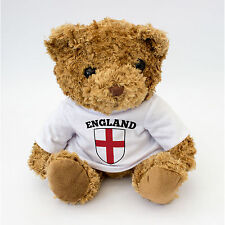 NEW - England Flag St Georges Cross Teddy Bear - Football Rugby Fan Gift