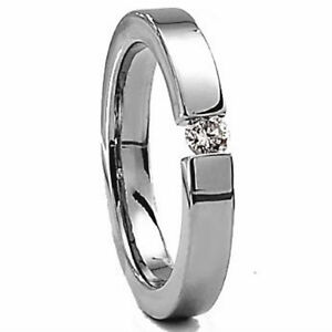 Titanium 5mm Women's TENSION RING with Round 4mm CZ Stone, size 5 - in Gift Box