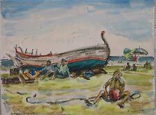 S.C. Schoneberg-Pen, Ink and Watercolor-1980's-Italian Fishermen On Beach