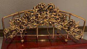 Vintage  Gold Ormolu Filigree Vanity  Towel Holder Roses