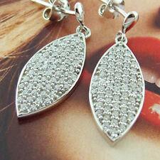 EARRINGS GENUINE REAL 925 STERLING SILVER DIAMOND SIMULATED LONG DROP DESIGN