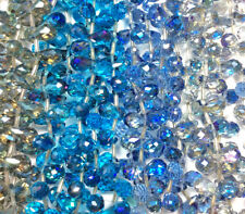 Vtg 100 CLEAR AB FIRE POLISHED 7X5m GLASS DROP BEADS  #010720d BRIDAL!