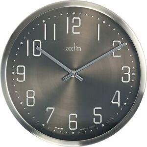 Acctim Alvik 30 cm Wall Clock brushed Steel Sliver Black 27467