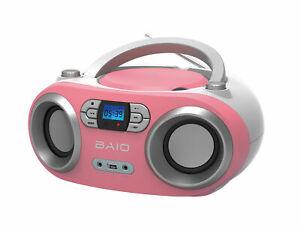 OUTMARK BAIO TRAGBARER CD-PLAYER CD-RADIO MIT BLUETOOTH USB PINK KINDER B-WARE