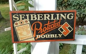 Antique Tin SEIBERLING Tires Sign Combo Tire Stand - RARE c1925