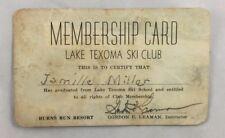 circa late 1930s Membership Card Lake Texoma Ski Boat Club Oklahoma-Texas Border