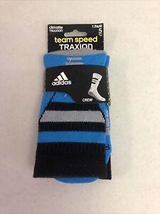 Adidas Team Speed Climalite Traxion Crew Socks Small Wm 5-6.5 Yth 1Y-5Y Blue
