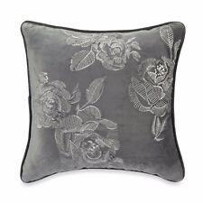 B Smith Eleora Decorative Square Toss Pillow Velvet Gray Ivory Floral Embroidery