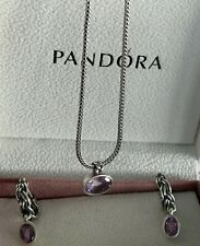 Retired in 2012! Pandora Tied Together 925 & Pink Amethyst Necklace & Earrings