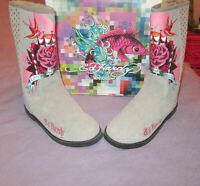 NIB ED HARDY Size 10 BOOTS Leather LOVE & ROSES Tattoo EMBELLISHED Fur LINED