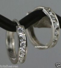 "Solid 14K White Gold Endless Huggies Hoop D-Flawless CZ Earrings 1/2"" ChannelSet"
