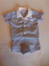Alexis Baby Boy Suit Size 3mo Pinstripe Shorts Short Sleeve Pocket Square