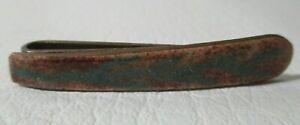 Vintage Hand Painted Fern / Leaf Enamel Copper Art Tie Slide Bar Clip