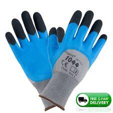 Heavy Duty Work Safety Gloves Semi Waterproof Work Building Gardening  Blue