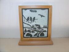 Handmade Art Sandblast Country Scene Lighted Display Gift MarbleCurio