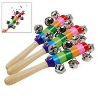 Colorful Wooden Rainbow Handle Jingle Bell Rattle Toys For Kids Baby Infant IQ