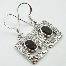 Earrings 1.2 Inch, Beautiful Ethnic 925 Solid Silver Classic Smoky Quartz