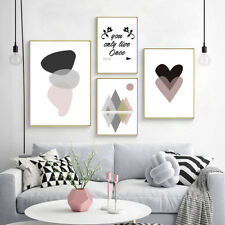 Geometric Heart Canvas Nordic Poster Abstract Wall Art Print Modern Home Decor