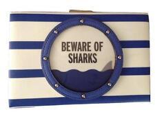 NWT KATE SPADE Emanuelle Make A Splash Beware Of Sharks Clutch $249 WKRU3808