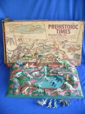 VINTAGE MARX PLAYSET PREHISTORIC TIMES ANIMALS DINOSAURS CAVEMEN BOX TOY MONSTER
