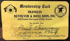 1963 – Franklin Revolver & Rifle Association Membership Card - New Jersey NJ