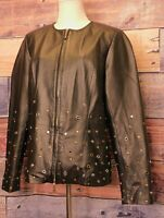 NWOT Bradley By Bradley Bayou Black Leather Jacket With Grommets Size Medium