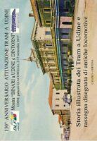 Storia illustrata dei tram a Udine e rassegna disegnata di antiche locomotive.