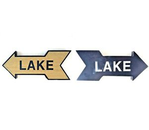 Made For Retail Wood Arrow Lake Sign Double Sided Wall Decoration (See Details)