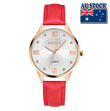 Red Leather Rose Gold Plated Roman Steel White Dial Quartz Lady Wrist Watch