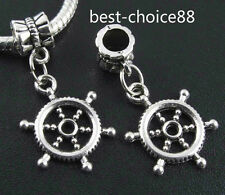 10PCS Tibetan Silver Rudder Charms Pendant Dangle Beads Fit European Bracelet