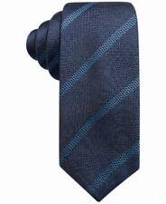 Alfani Men's Stripe Pattern Slim 2.75'' Silk Neck Tie, Navy Blue, One Size