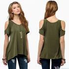 Womens Cold Shoulder Top Tee Short Sleeve Blouse Summer Casual T-Shirt Plus Size