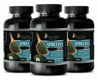 SPIRULINA Powder Pure Non-GMO 500mg - Blue Green Algae - 3 Bottles, 180 Capsules