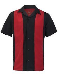 Men's Premium Retro Classic Two Tone Guayabera Bowling Casual Dress Shirt