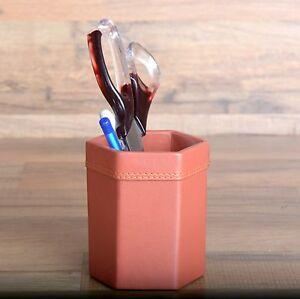 Genuine Leather Pen Holder Makeup Brush Cup Desk Organizer Cup Tan Brown